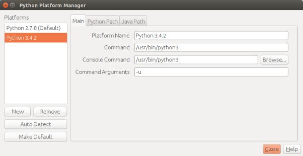 添加好Python3平臺之後的Python平臺管理器